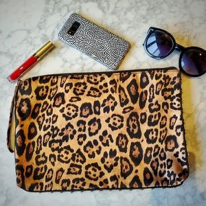 Francesca's Zip-top Leopard Print Clutch
